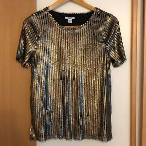 Gold and Black Sequins Top
